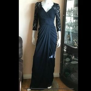Adrianna Papell 3/4 Lace Sleeve Long Evening Gown
